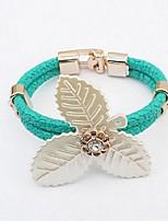 baratos -Mulheres Bracelete - Pele Formato de Folha, Clover Fashion Pulseiras Preto / Vermelho / Verde Para Cerimônia / Rua