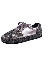 economico -Per donna Scarpe PU (Poliuretano) Primavera estate Comoda Sneakers Footing Piatto Punta tonda Brillantini Nero / Argento / Champagne