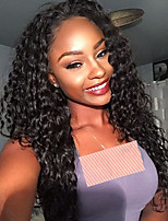 cheap -Remy Human Hair Full Lace Wig Brazilian Hair / Kinky Curly Curly 150% Density Natural Hairline / With Bleached Knots Women's Long Human Hair Lace Wig