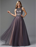 cheap -A-Line Jewel Neck Floor Length Tulle Prom / Wedding Party Dress with Beading by TS Couture® / Keyhole