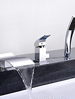 cheap -Bathtub Faucet - Contemporary Chrome Deck Mounted Ceramic Valve