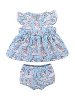 cheap -Baby Girls' Print Sleeveless Clothing Set