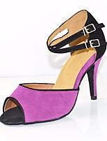 abordables -Femme Chaussures Latines Polyuréthane Talon Mince haut talon Chaussures de danse Violet / Utilisation / Cuir / Entraînement