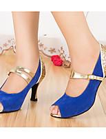 baratos -Mulheres Sapatos de Dança Latina Couro Ecológico Salto Salto Alto Magro Sapatos de Dança Azul / Rosa claro