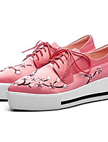 cheap -Women's Shoes Nappa Leather Spring & Summer Comfort Sneakers Flat Heel Closed Toe Black / Pink / Almond