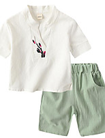 cheap -Kids Unisex Solid Colored / Floral Short Sleeve Clothing Set