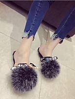 cheap -Women's Shoes Sheepskin Fall & Winter Comfort / Pom-pom Shoes Flats Flat Heel Closed Toe Black / Yellow / Dark Purple