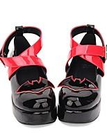 Недорогие -Туфли Классическая и традиционная Лолита / Панк Туфли на танкетке Туфли Вышивка 5 cm См Черный Назначение PU