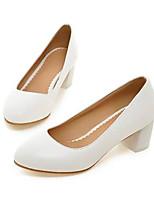 abordables -Mujer Zapatos PU Primavera verano Confort Tacones Tacón Cuadrado Punta cerrada Blanco / Azul