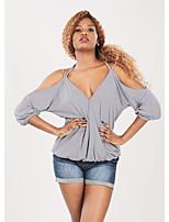 abordables -Mujer Básico Espalda al Aire / Acordonado Camiseta Un Color