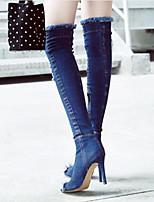 baratos -Mulheres Sapatos Jeans Outono & inverno Botas Cowboy / Country / Botas da Moda Botas Salto Agulha Peep Toe Botas Acima do Joelho Azul Escuro / Azul Claro / Festas & Noite