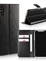 economico -Custodia Per Apple iPhone X / iPhone 8 A portafoglio / Porta-carte di credito / Con chiusura magnetica Integrale Tinta unita Resistente pelle sintetica per iPhone X / iPhone 8 Plus / iPhone 8