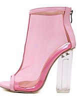 cheap -Women's Shoes PVC(Polyvinyl chloride) Spring & Summer Jelly Shoes Boots Chunky Heel Open Toe Booties / Ankle Boots Crystal Light Pink / Party & Evening