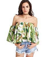 baratos -Mulheres Blusa Frufru / Estampado, Geométrica