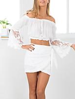abordables -Mujer Básico Encaje / Espalda al Aire / Ahuecado Camiseta Un Color