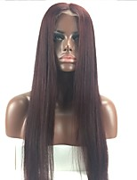 cheap -Remy Human Hair Full Lace Wig Brazilian Hair Straight Layered Haircut 130% Density With Baby Hair / Natural Hairline / 100% Hand Tied Burgundy Women's Short / Long / Mid Length Human Hair Lace Wig