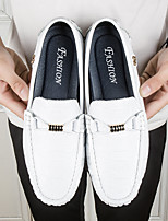 cheap -Men's Shoes Cowhide Spring Comfort / Moccasin Loafers & Slip-Ons White / Black / Dark Blue