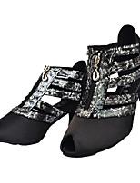 cheap -Women's Latin Shoes Cowhide Heel Slim High Heel Dance Shoes Black