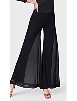 abordables -Danse latine Bas Femme Entraînement Fibre de Lait Elastique Taille moyenne Pantalon