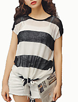 cheap -women's t-shirt - striped round neck
