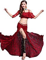abordables -Danza del Vientre Accesorios Mujer Rendimiento Modal Encaje / Combinación / Separado Media Manga Cintura Baja Faldas / Top