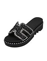 cheap -Women's Shoes PU(Polyurethane) Summer Comfort Slippers & Flip-Flops Wedge Heel Round Toe Rhinestone Black / Silver