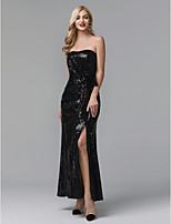 cheap -Sheath / Column Strapless Ankle Length Sequined Celebrity Style Prom / Formal Evening Dress with Split Front / Pleats by TS Couture®
