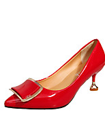 preiswerte -Damen Schuhe PU Sommer Pumps High Heels Kitten Heel-Absatz Spitze Zehe Schnalle Schwarz / Beige / Rot / Party & Festivität
