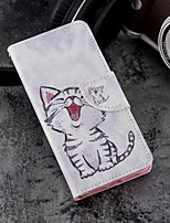 cheap -Case For Apple iPhone X / iPhone 8 Plus Wallet / Card Holder / with Stand Full Body Cases Cat Hard PU Leather for iPhone X / iPhone 8
