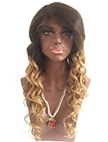cheap -Remy Human Hair Lace Front Wig Wig Brazilian Hair Wavy Layered Haircut 130% Density With Baby Hair / Ombre Hair / Natural Hairline Blonde Women's Short / Long / Mid Length Human Hair Lace Wig