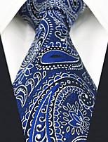 cheap -Men's Party / Work Necktie - Color Block / Paisley / Jacquard Blue & White