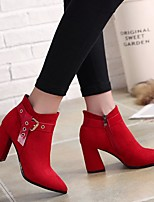 cheap -Women's Shoes Suede Winter Comfort Boots Chunky Heel Black / Red