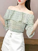 cheap -women's shirt - polka dot boat neck