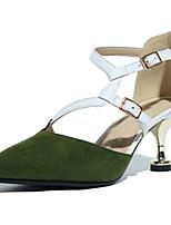 preiswerte -Damen Schuhe Schafspelz Sommer Komfort High Heels Stöckelabsatz Spitze Zehe Schnalle Weiß