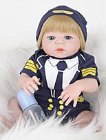 Недорогие -FeelWind Куклы реборн Мальчики 22 дюймовый Полный силикон для тела - как живой, Искусственные имплантации Голубые глаза Детские Мальчики Подарок