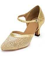 preiswerte -Damen Schuhe für modern Dance Gitter Sandalen Kubanischer Absatz Tanzschuhe Gold