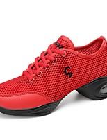 preiswerte -Damen Tanz-Turnschuh / Schuhe für modern Dance Gitter Sneaker Seide aushöhlen Kubanischer Absatz Tanzschuhe Weiß / Schwarz / Rot