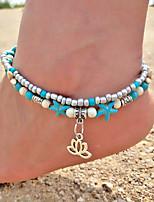 abordables -Turquoise Bracelet de cheville - Fleur, Étoile de mer, Botanique Rétro, Bohème, Mode Turquoise Pour Sortie / Bikini / Femme