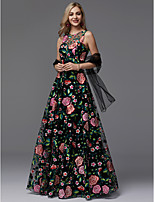 cheap -A-Line Jewel Neck Floor Length Lace Prom / Formal Evening Dress with Pattern / Print by TS Couture®