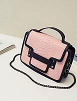 cheap -Women's Bags PU(Polyurethane) Shoulder Bag Buttons Blue / White / Blushing Pink