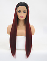 cheap -Synthetic Lace Front Wig Straight Burgundy Layered Haircut Synthetic Hair Heat Resistant Burgundy Wig Women's Long Lace Front / Yes