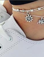 abordables -Effets superposés Bracelet de cheville - Eléphant, Soleil simple Argent Pour Quotidien / Femme