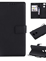 cheap -Case For Sony Xperia L2 / Xperia L1 Wallet / Card Holder / Flip Full Body Cases Solid Colored Hard PU Leather for Xperia XZ1 Compact / Sony Xperia XZ1 / Sony Xperia XZ