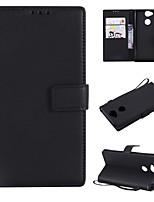 Недорогие -Кейс для Назначение Sony Xperia L2 / Xperia L1 Кошелек / Бумажник для карт / Флип Чехол Однотонный Твердый Кожа PU для Xperia XZ1 Compact / Sony Xperia XZ1 / Sony Xperia XZ