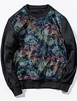 abordables -Homme Mince Col Arrondi Manches Longues Sweatshirt Fleur