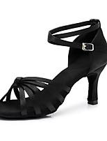 baratos -Mulheres Sapatos de Dança Latina Cetim Têni Salto Alto Magro Personalizável Sapatos de Dança Preto