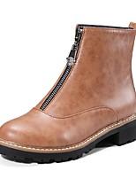 Недорогие -Жен. Обувь Искусственная кожа Зима Модная обувь / Ботильоны Ботинки На низком каблуке Круглый носок Ботинки Черный / Темно-русый