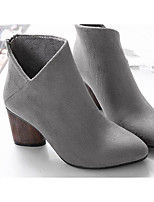 cheap -Women's Shoes Suede Fall Comfort / Basic Pump Heels Chunky Heel Black / Gray