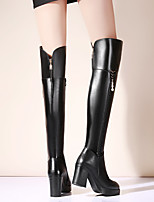 cheap -Women's Shoes Cowhide Winter Comfort Boots Chunky Heel Over The Knee Boots Black / Brown
