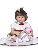Недорогие -NPKCOLLECTION Куклы реборн Девочки 18 дюймовый Силикон - Искусственная имплантация Коричневые глаза Детские Девочки Подарок